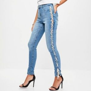 Missguided  sinner high waist skinny lace up jeans